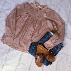 CURRENT AIR Anthro Vintage Taupe Semi Sheer Top